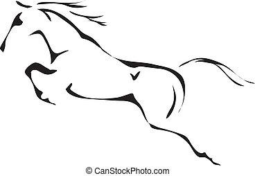 caballo que salta, vector, negro, blanco, contornos