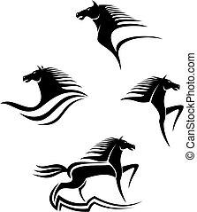 caballos, símbolos, negro