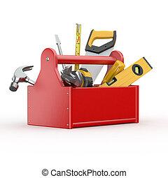 Caja de herramientas. Skrewdriver, martillo, sierra y llave
