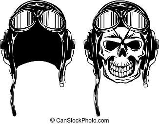 Calavera kamikaze en casco
