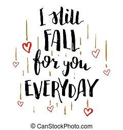 caligrafía, amor, otoño, usted, todavía, diario, tarjeta