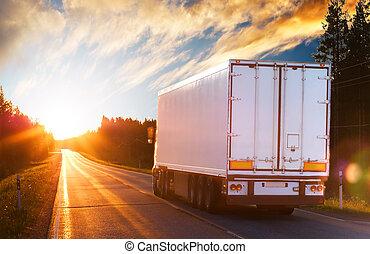 Camión en la carretera de asfalto por la noche
