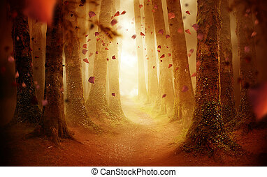 Camino a través de un bosque de otoño