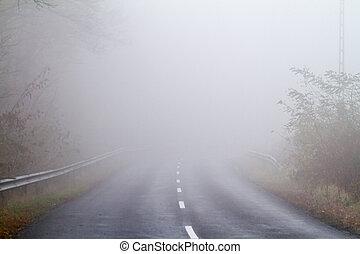 Camino de asfalto en una niebla de otoño