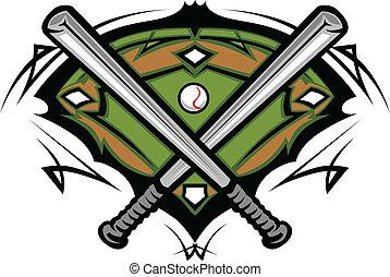 Campo de béisbol con murciélagos cruzados