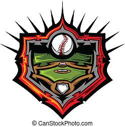 Campo de béisbol con vector de béisbol