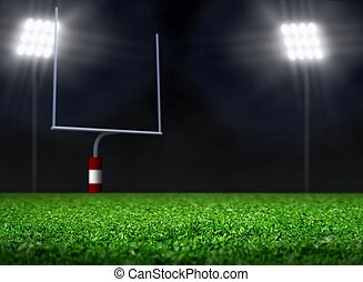 Campo de fútbol vacío con foco