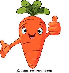 carácter, dar, tomate, pulgares arriba