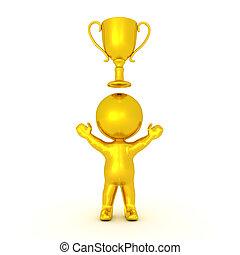 Carácter dorado 3D con un trofeo de oro encima