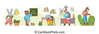 caricatura, conjunto, students., classroom., colección, animales, ilustración, escuela, espalda