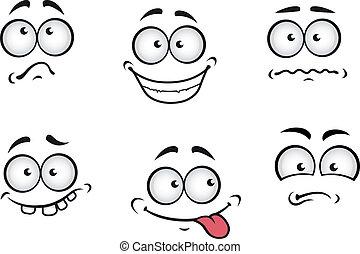 caricatura, emociones, caras