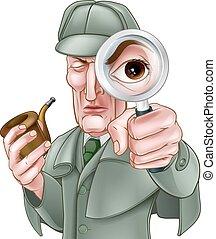 caricatura, holmes, detective, sherlock