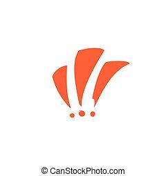 caricatura, marca, exclamación, dibujado, mano, tres, advertencia, motion., icon.