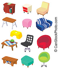 caricatura, muebles, icono