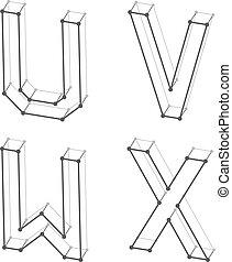 Cartas alfabetizadas por cable U V W X