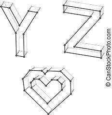 Cartas de alfabeto y corazón Y Z