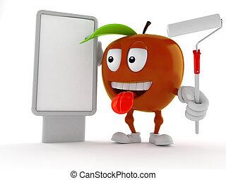 cartelera, blanco, carácter, manzana