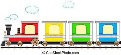 Cartoon lindo y colorido tren en tren