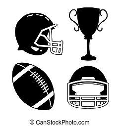 Casco de pelota y trofeo de fútbol americano