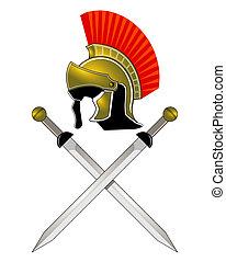 casco romano y espadas