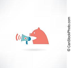 Cerdo gritando en icono parlante