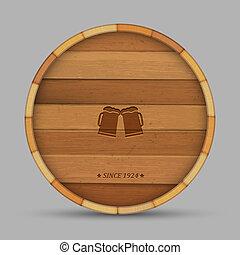 Cerveza de vector en forma de barril de madera