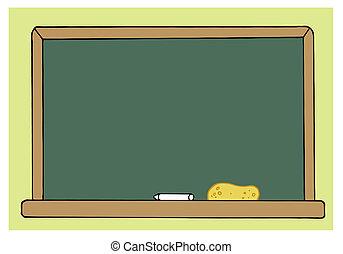 Chalkboard de clase verde en blanco