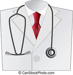 chamarra, médico, blanco, doctor