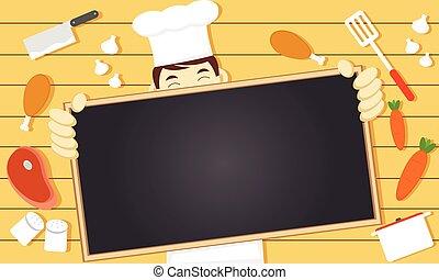 chef, espacio, blanco, copia