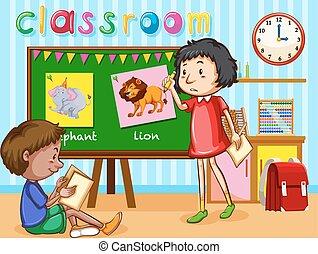 Chico y chica en el aula