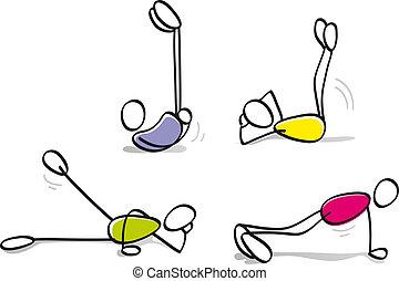 Chicos divertidos haciendo ejercicio