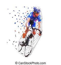 Ciclismo de carretera, ciclista en camiseta azul, ilustración de vectores poligonales. Baja ciclista de polietileno