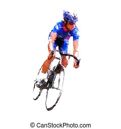 Ciclismo de carretera, ciclista en camiseta azul montando su bicicleta, aislada baja ilustración de vectores geométricos