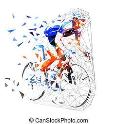 Ciclismo de carretera, ciclista poligonal en moto de camiseta azul. Baja ilustración de vectores