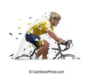 Ciclista de carreteras poligonales bajo en camiseta amarilla, vista lateral. Ilustración geométrica del vector aislado