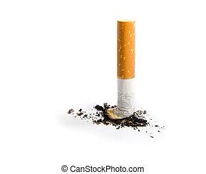 cigarrillo, blanco, aislado, butt
