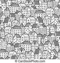 ciudad, blanco, seamless, balck, patrón