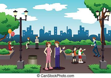 ciudad, llenar, parque, everyday people