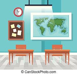 Clase con mapa global y tablón de notas con escritorios