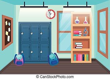 Clase con taquillas y mochilas con estantería y reloj