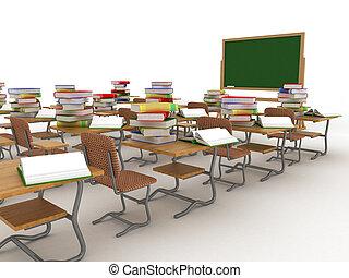 class., interior, escuela, image., 3d
