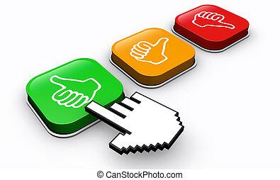 Cliente feliz pulsa botón de retroalimentación positiva
