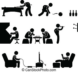 club, snooker, interior, piscina, actividad