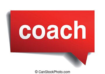 Coach Red 3d realista burbuja de habla de papel aislada en blanco