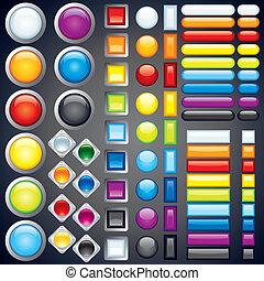 Colección de botones, iconos, barras. Imagen del vector