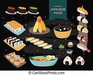 Colección de comida japonesa. Fondo negro, estilo de pizarra.