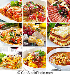 Collage de comida italiana