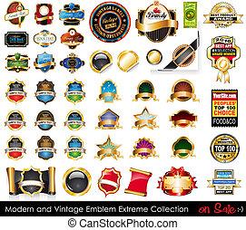 collection., emblemas, extremo, moderno, vendimia
