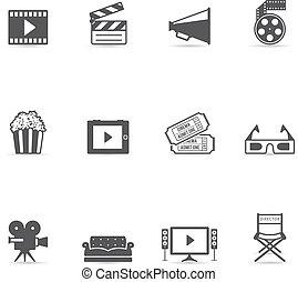 color, películas, solo, -, iconos