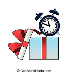 colorido, diseño, alarma, abierto, caja, regalo, reloj